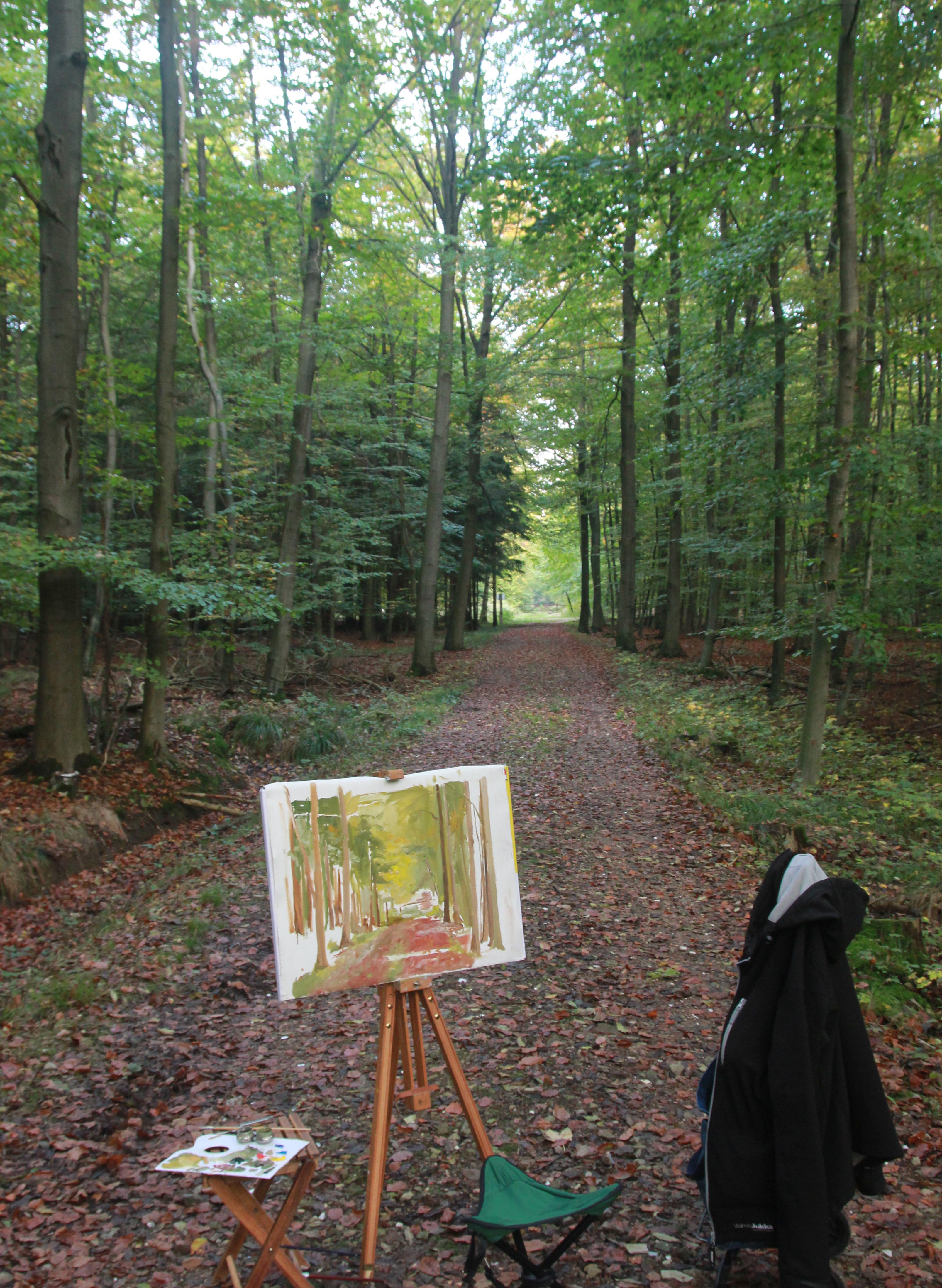 Maalaamassa metsässä Saksassa 2014