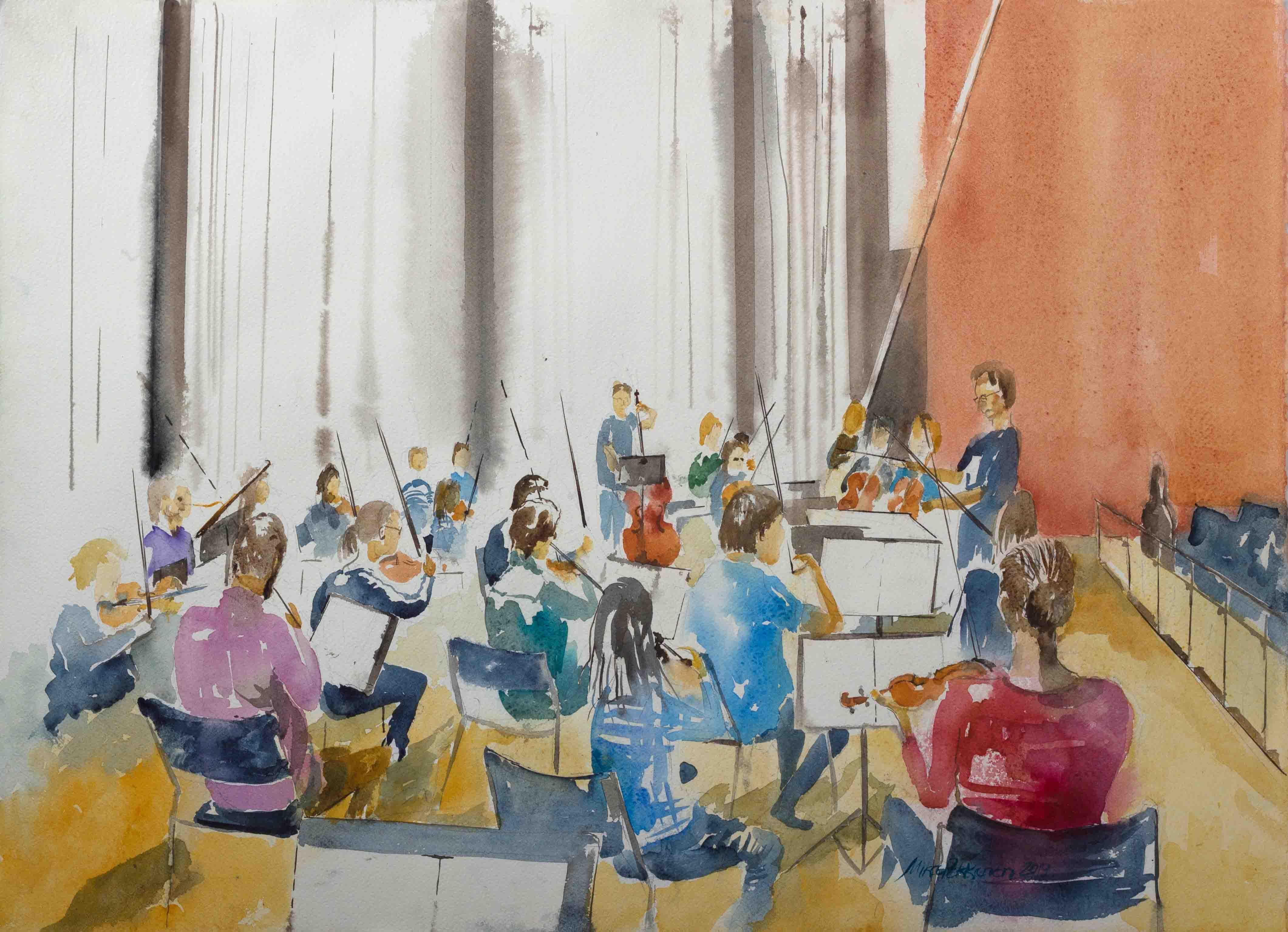 Jyväskylän Yliopiston Sinfoniaorkesteri harjoituksissa