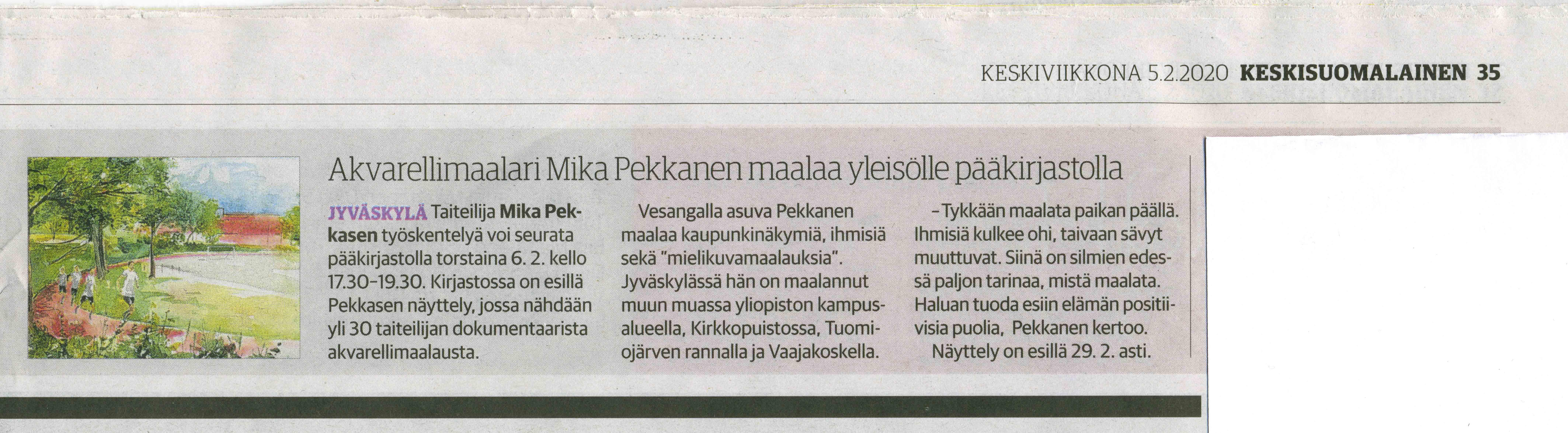 Keskisuomalaisessa 5.2.2020 Infoa live-maalauksesta ja näyttelystä Jyväskylän pääkirjastolla