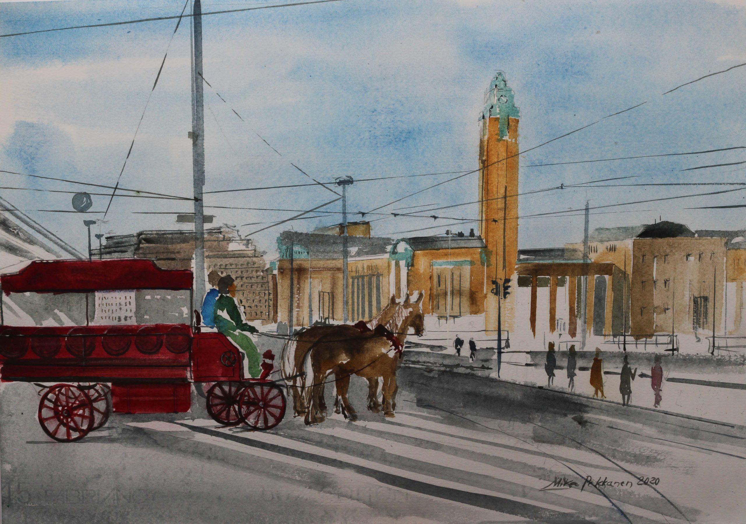 Viimeisiä uusia maalauksia. Rautatietori Ateneumin kulma Helsinki          Akvarelli 35 x 49  2020