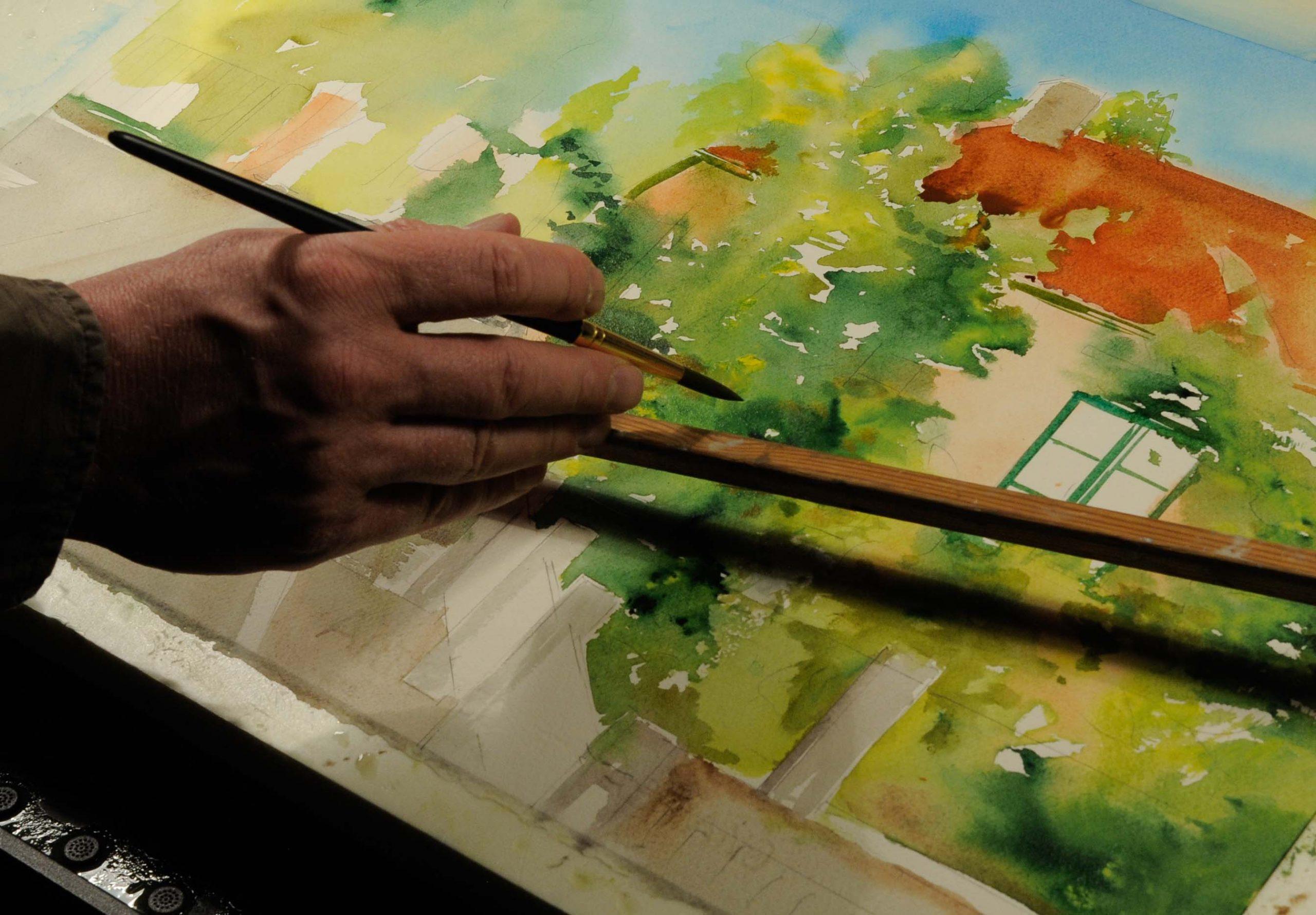 Akvarelli live-maalaus Mika Pekkanen Taidekeskus Järvilinnassa 10.7 ja 26.7.2020 klo13-17. Tervetuloa tutustumaan miten teos syntyy.