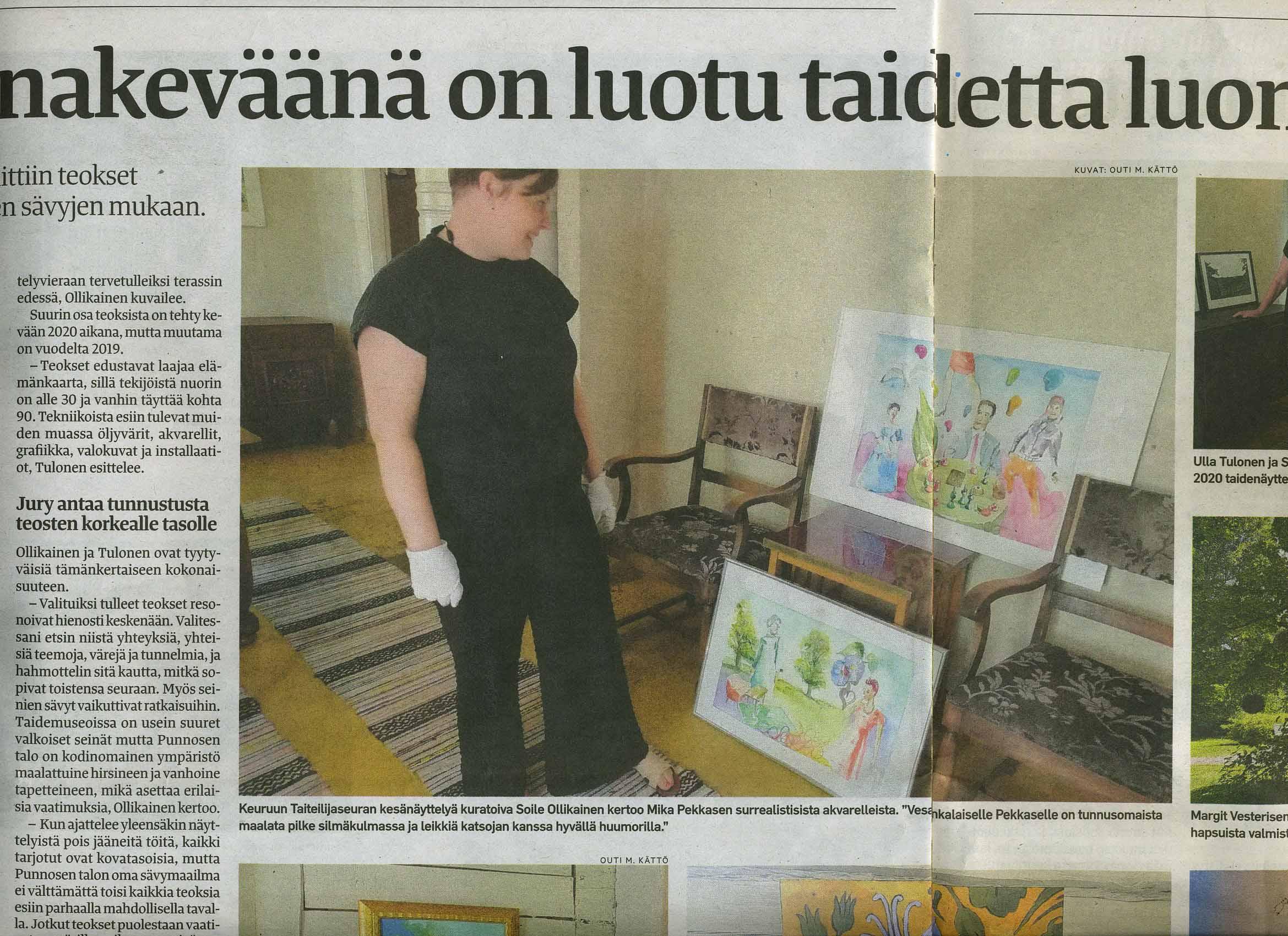 """kuratoiva Seija Ollikainen kertoo Mika Pekkasen surrealistisista akvarelleista. """"Vesankalaiselle Pekkaselle on tunnusomaista maalata pilke silmäkulmassa ja leikkiä katsojan kanssa hyvällä huumorilla"""""""