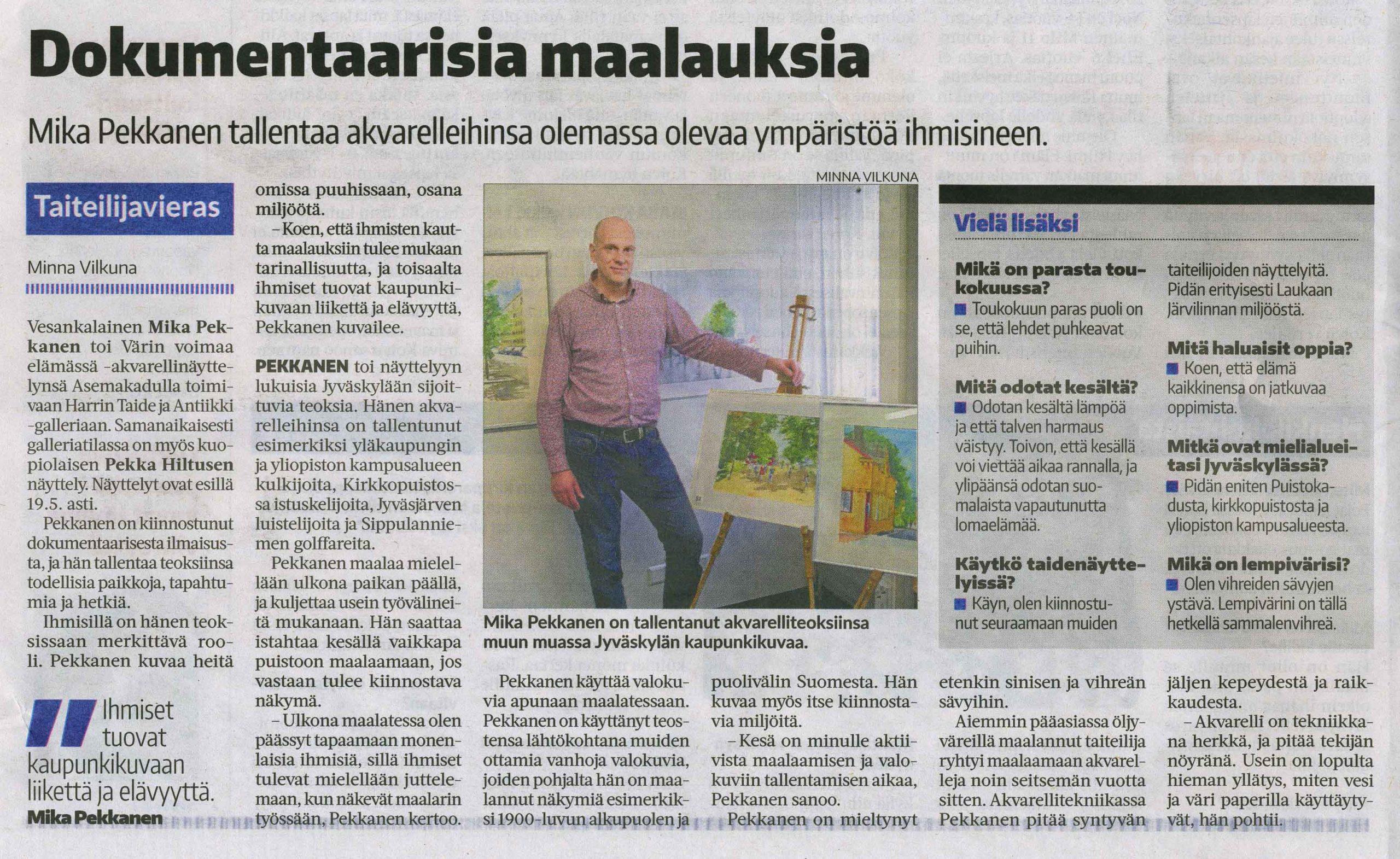 Suur-Jyväskylän lehden taiteilijavieraana 5.5.2021