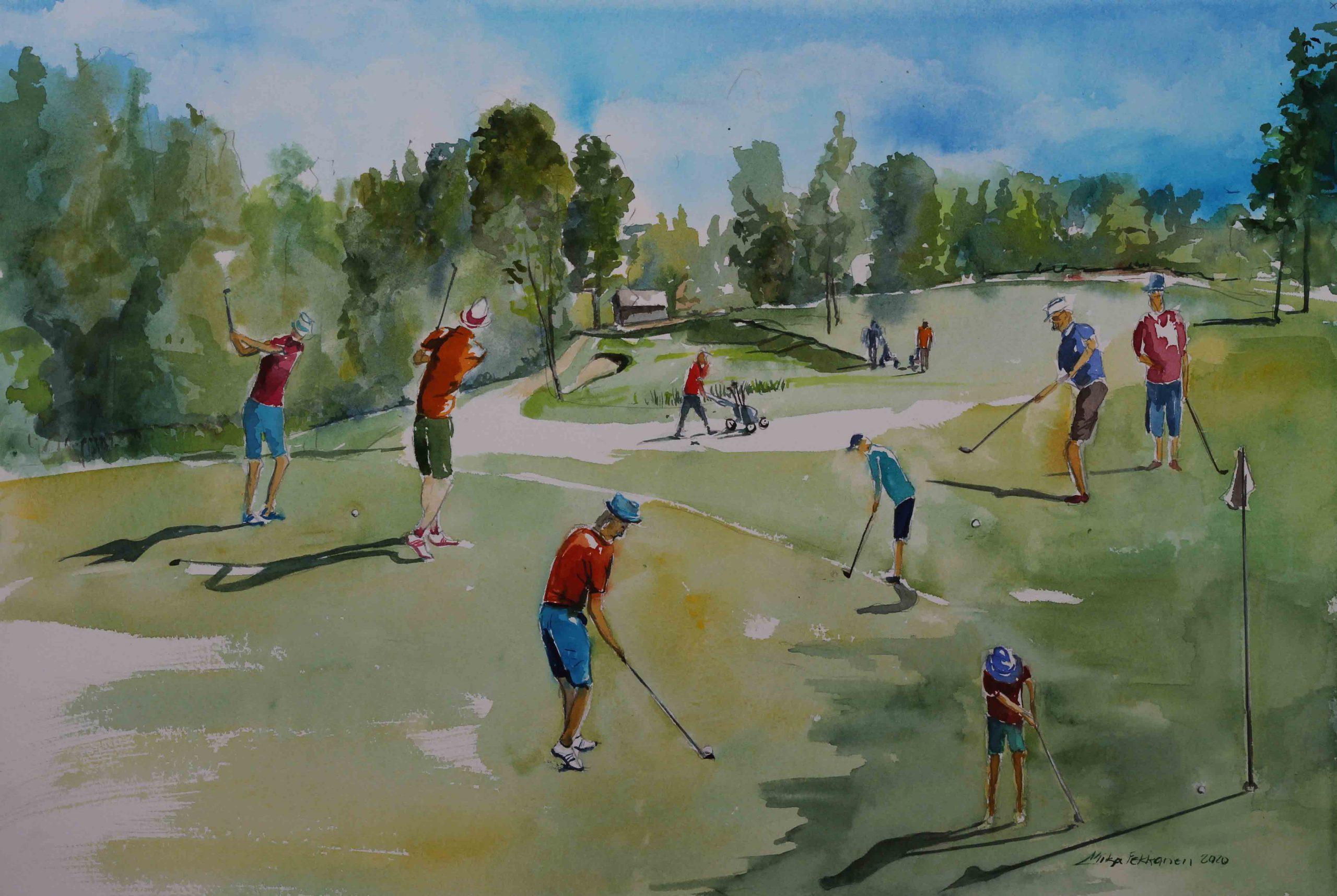 Jyväs-Golf Bar Fore! kahvila-ravintolassa Mika Pekkasen akvarellimaalauksia Sippulanniemen golfkentältä.